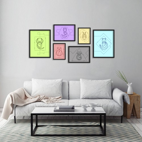 Renkli Fon İkon Hayvanlar Çerçeveli Poster Seti