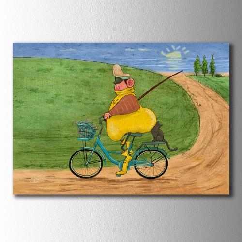 Sarı Reis ve Zeytin Bisiklette Kanvas Tablo
