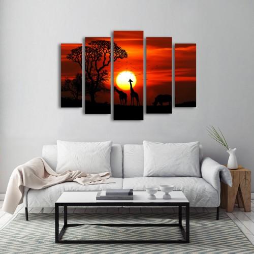 Savana Günbatımı Parçalı Kanvas Tablo Set