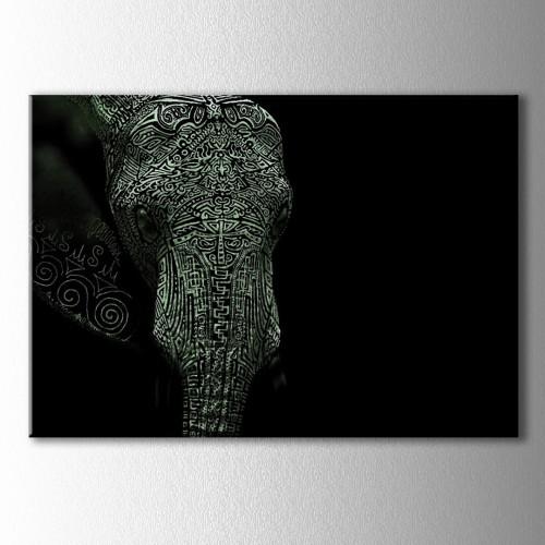 Siyah Beyaz Fil Portre Kanvas Tablo