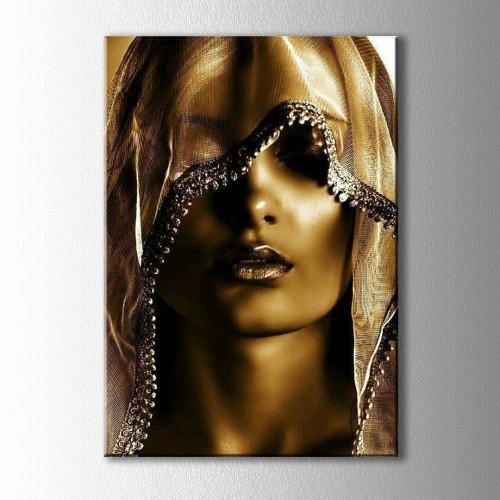 Altın Kadın Portre Kanvas Tablo
