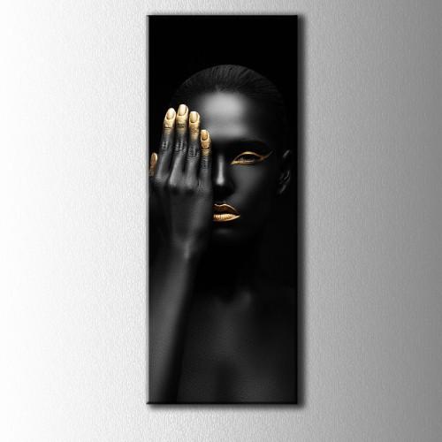 Altın Oje ve Siyahi Kadın Portre Panaromik Kanvas Tablo