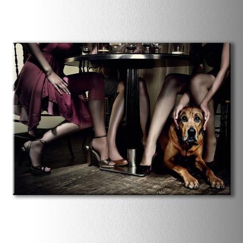 Dekoratif Kadın ve Köpek Kanvas Tablo