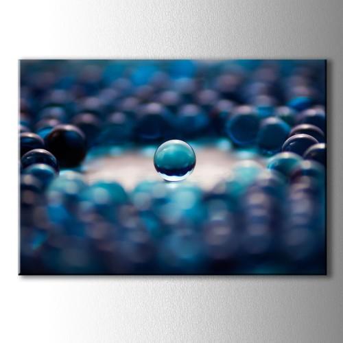 Dekoratif Mavi Bilye Kanvas Tablo