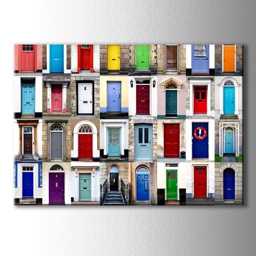 Renkli Kapılar Dekoratif Kanvas Tablo