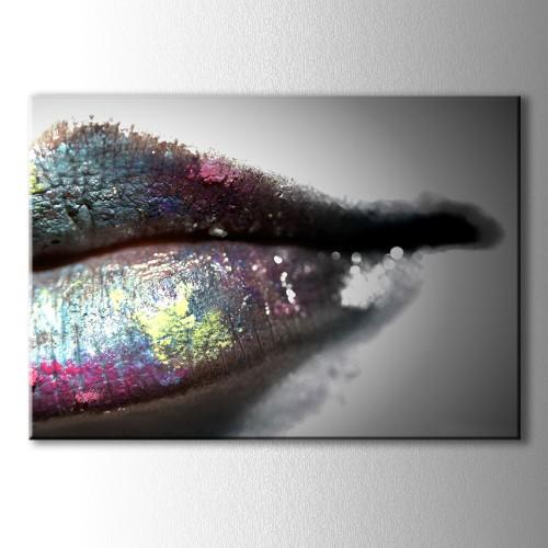 Renkli Dudak Dekoratif Kanvas Tablo