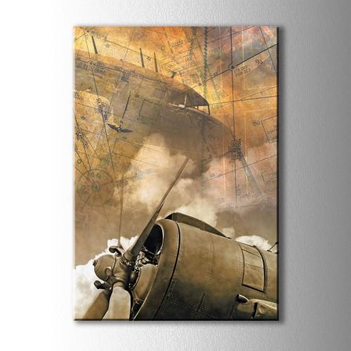 Pervaneli Uçak Kanvas Tablo