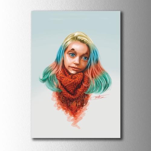 Gökkuşağı Saçlı Kız Kanvas Tablo