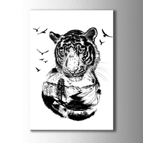 Siyah Beyaz Özel Çizim Kaplan Kanvas Tablo