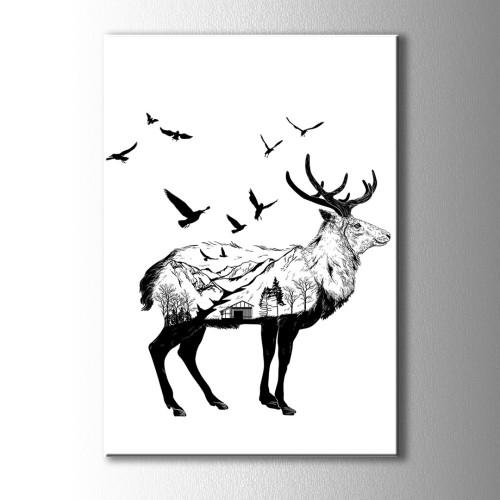 Özel Çizim Siyah Beyaz Geyik Kanvas Tablo
