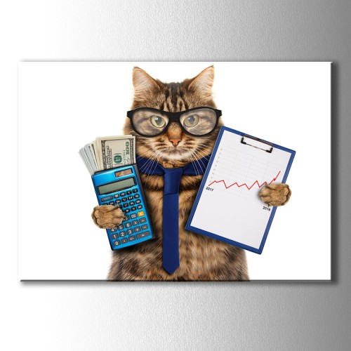 Bankacı Kedi Kanvas Tablo