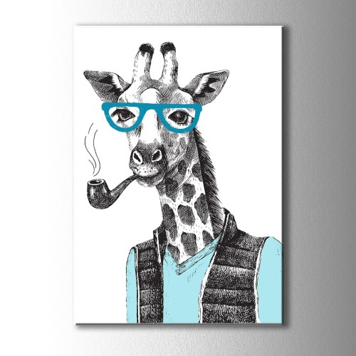 Özel Çizim Zürafa Kanvas Tablo