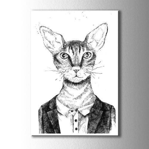 Siyah Beyaz Özel Çizim Kedi Kanvas Tablo