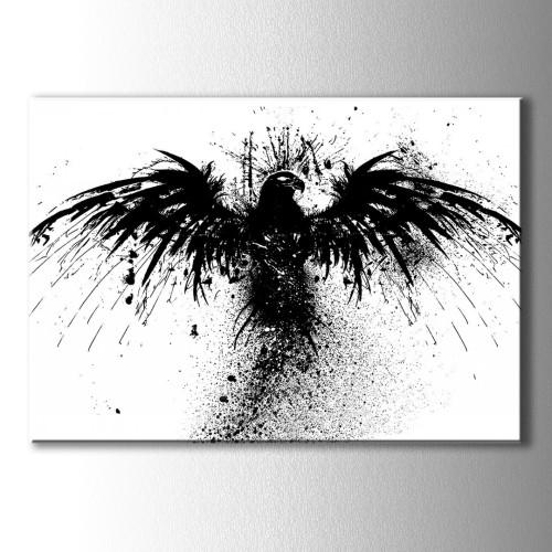 Siyah Beyaz Özel Çizim Kartal Kanvas Tablo