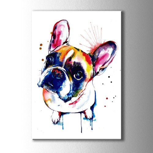 Mavi Burunlu Köpek Kanvas Tablo