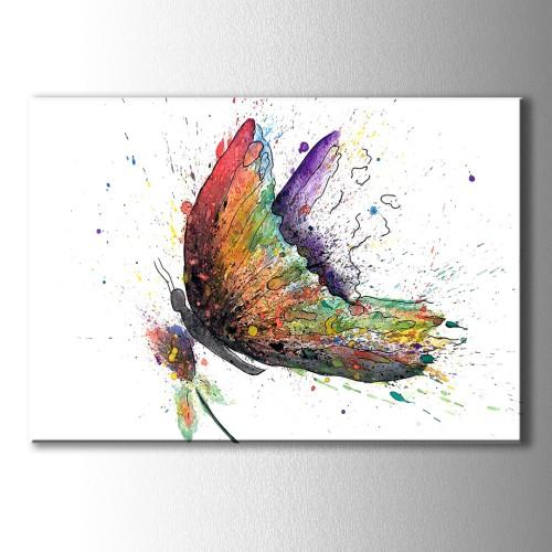 Suluboya Görünümlü Kelebek Kanvas Tablo