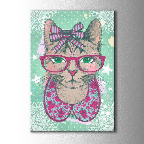 Pembe Gözlüklü Süslü Kedi