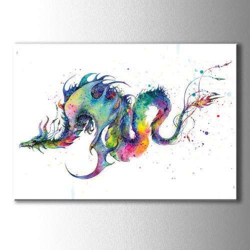 Özel Renkli Çizim Ejderha Kanvas Tablo