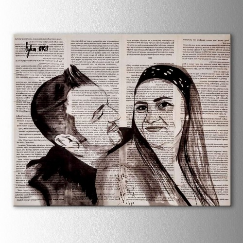 Kişiye Özel Mürekkep Boya Kitap Sayfasına Çift Portre