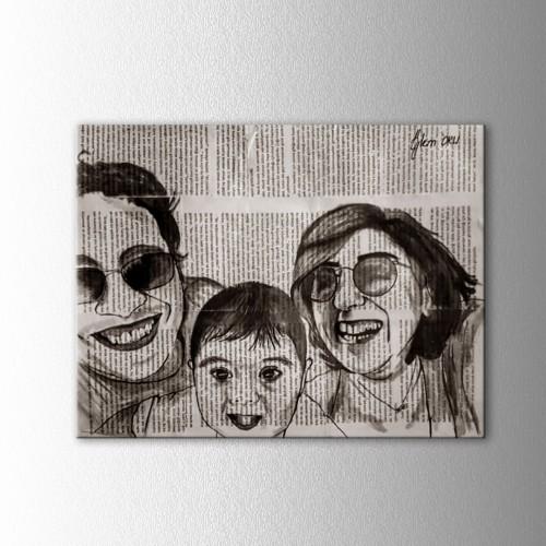 Kişiye Özel Mürekkep Boya Kitap Sayfasına Yatay 3 lü  Aile Portre