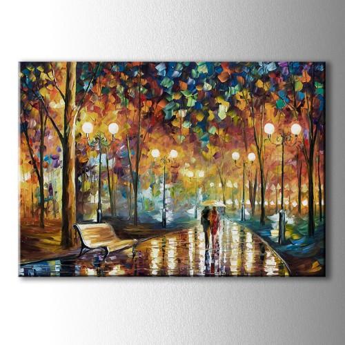 Yağmurda Yürüyen Çift Kanvas Tablo