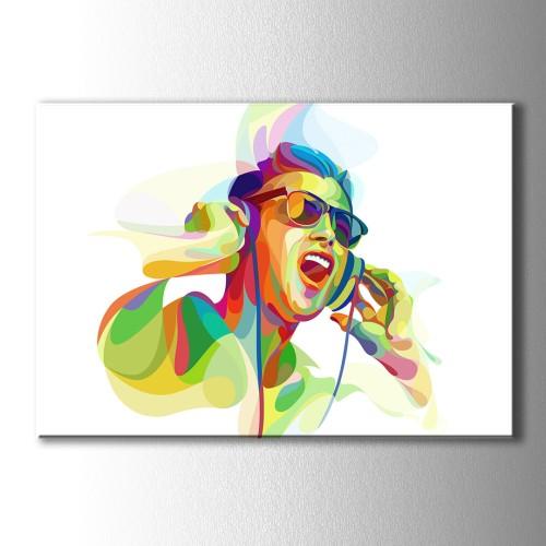 Müziğin Rengi Kulaklıklı Adam Kanvas Tablo