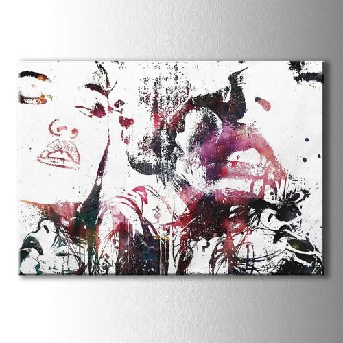 Çizim Kırmızı Dudak Kanvas Tablo