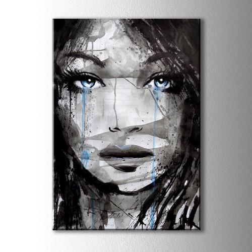 Ağlayan Mavi Gözlü Kız Kanvas Tablo