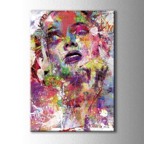 Renkli Çizim Kadın Kanvas Tablo