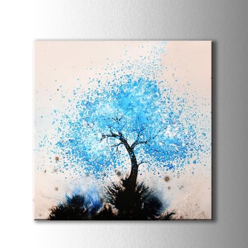 Mavi Ağaç Kanvas Tablo Kare