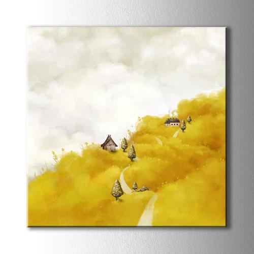 Sarı Yamaçtaki Ev Kanvas Tablo Kare