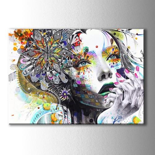 Renkli Silüet Kadın Kanvas Tablo
