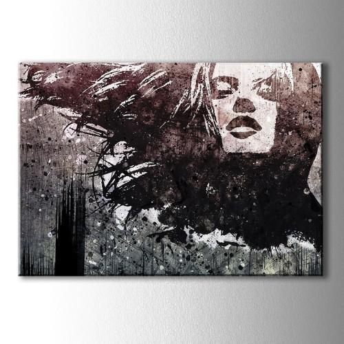Sepya Silüet Kadın Kanvas Tablo