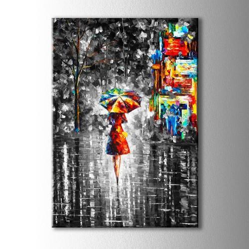 Şemsiyeli Kız Yağlı Boya Görünümlü Kanvas Tablo