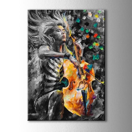 Yağlı Boya Görünümlü Çello Çalan Kız Kanvas Tablo