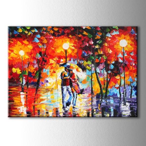 Yağlı Boya Görünümlü Şemsiyeli Çift Kanvas Tablo