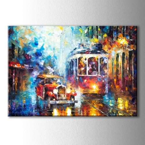 Tranvay ve Araba Yağlı Boya Görünümlü Kanvas Tablo