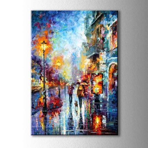 Yağmurda Yürüyen Çift Yağlı Boya Görünümlü Kanvas Tablo
