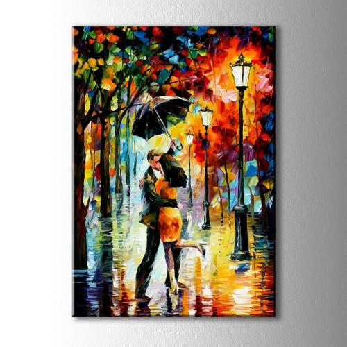 Yağmurda Dans Eden Çift Yağlı Boya Görünümlü Kanvas Tablo
