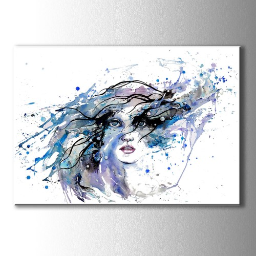 Mavi Damlalar Renkli Silüet Kanvas Tablo