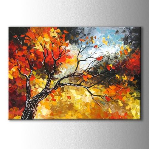 Dekoratif Sonbahar Ağaç Kanvas Tablo