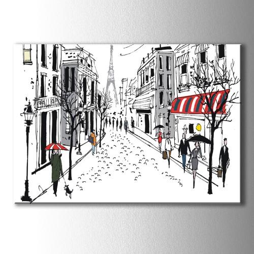 Şemsiyeli İnsanlar Çizim Paris Kanvas Tablo