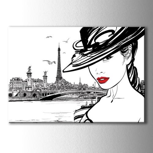 Eyfel Kulesi Şapkalı Kız Kanvas Tablo