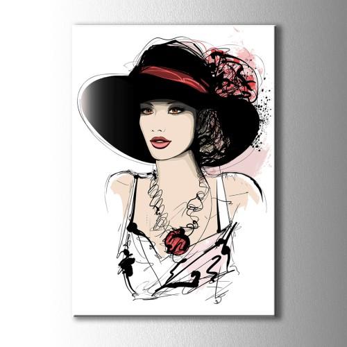 Siyah Şapkalı Kadın Kanvas Tablo