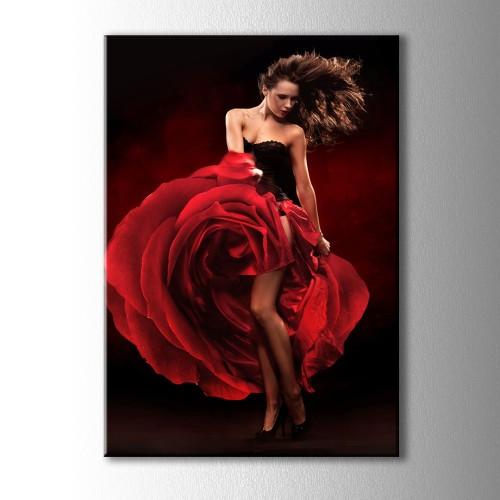 Flamenko Yapan Kız Kanvas Tablo