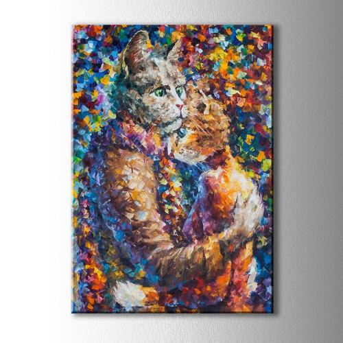 Kediler Dostluk Kanvas Tablo