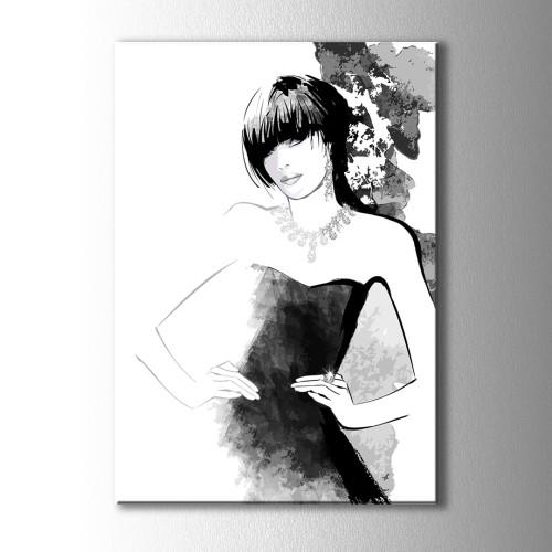 Özel Çizim Küpeli Kız Kanvas Tablo