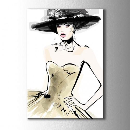 Özel Çizim Şapkalı Kız Kanvas Tablo