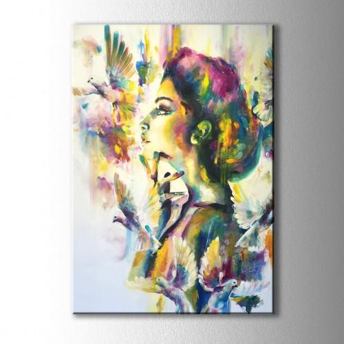 Kuş ve Kadın Dekoratif Kanvas Tablo