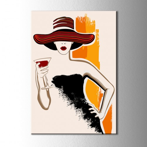 Kırmızı Dudak Şapkalı Kanvas Tablo
